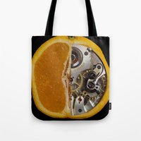 clockwork orange Tote Bags featuring Clockwork Orange by Cornish Seascapes