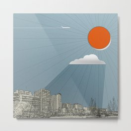 Sun in the harbour Metal Print