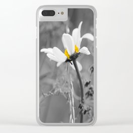 White daisy on a grey day #decor #society6 Clear iPhone Case