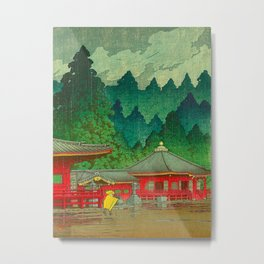 Vintage Japanese Woodblock Print Rainy Day At The Shinto Shrine Tall Pine trees Yellow Rain Coat Metal Print