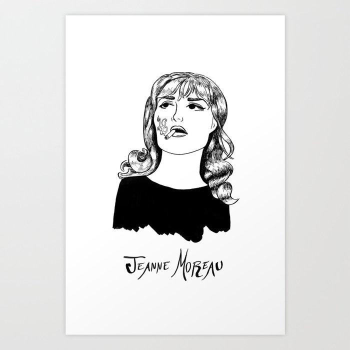 Jeanne Moreau Portrait Art Print