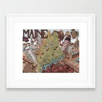 maine Framed Art Prints featuring Maine by Jada Fitch