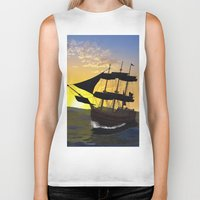 pirate ship Biker Tanks featuring Pirate ship  by nicky2342