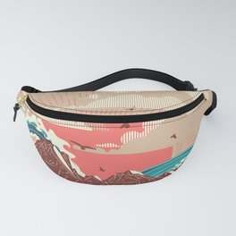 Stylized big waves of ocean or sea at sunset landscape Fanny Pack