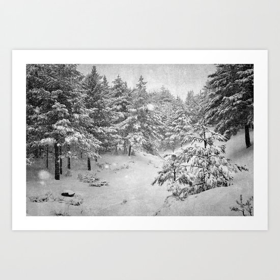 Snowing at the forest Art Print