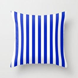 Cobalt Blue and White Vertical Beach Hut Stripe Throw Pillow