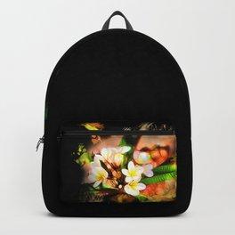 Beautiful tropical flowers on black Backpack