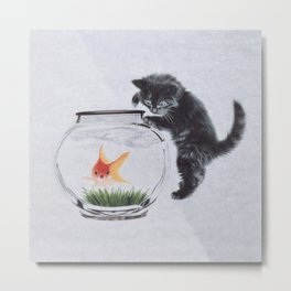 Cat playing with red fish Metal Print