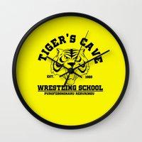 wrestling Wall Clocks featuring Tiger's cave wrestling school by CarloJ1956