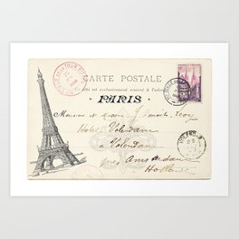 I Love Paris Postcard Art Print