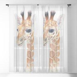 Baby Giraffe Cute Animal Watercolor Sheer Curtain