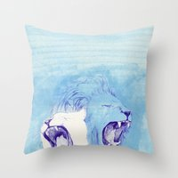 lions Throw Pillows featuring Two Lions by Fatma