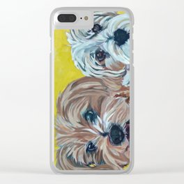 Ollie and Bailey Dog Portrait Clear iPhone Case