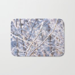 Close-up of branches with hoarfrost. Bath Mat