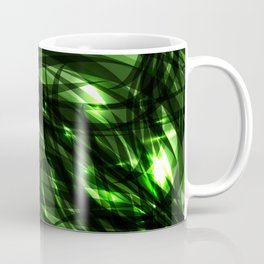 Green and smooth sparkling lines of grass on the theme of space and abstraction. Coffee Mug
