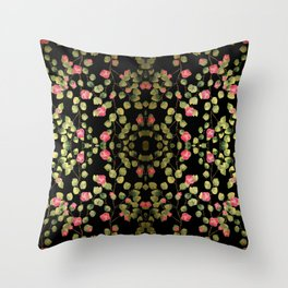 """Spring pink flowers and leaves - Black"" Throw Pillow"