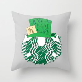 Starbucks 'We're All Mad Here' Throw Pillow