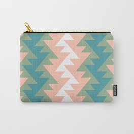 Pastel peach jade African zig zag retro boho pattern Carry-All Pouch