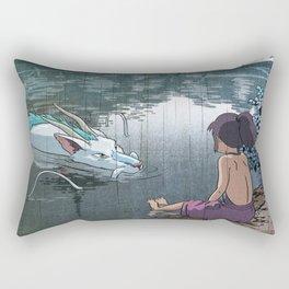 Haku and Chihiro woodblock mashup Rectangular Pillow