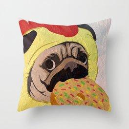 Pug -Dog- chicken Throw Pillow