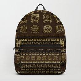 Maya Calendar Glyphs Gold on brown Backpack