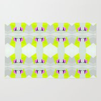 polygon Area & Throw Rugs featuring Polygon Neon by ARTDROID
