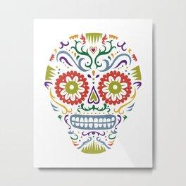 Sugar Skull SF multi 2 - on white Metal Print