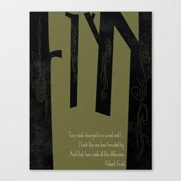 Robert Frost Road Not Taken  Canvas Print