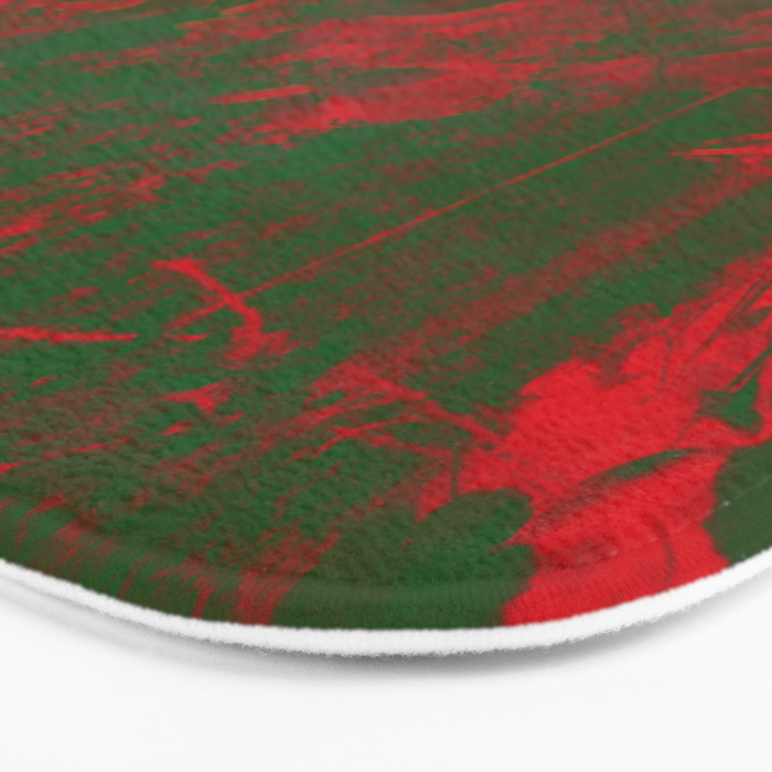 Leaves in fire red green fantasy Bath Mat