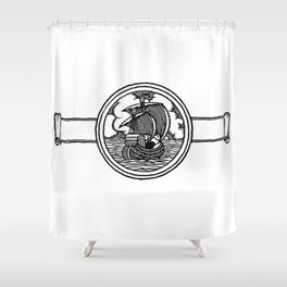 Ship stamp Shower Curtain