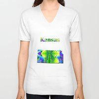 kansas V-neck T-shirts featuring Kansas Map by Roger Wedegis