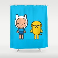 finn and jake Shower Curtains featuring #48 Jake and Finn by Brownjames Prints