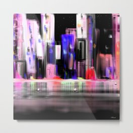 Cityscape By Night  sea Light  Full Color Metal Print
