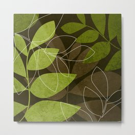 Green Brown Leaves Metal Print