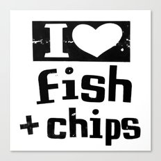 I Heart Fish and Chips - White Canvas Print