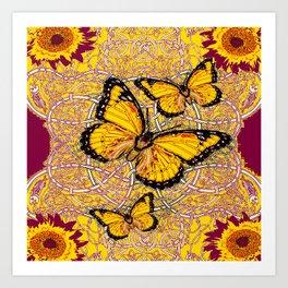 Yellow Monarch Butterflies Burgundy Floral Fantasy Art Print