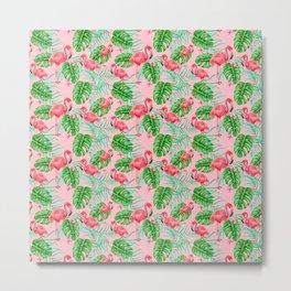 N147 - Bohemian Tropical Flamingo Bird Illustration Pattern Metal Print