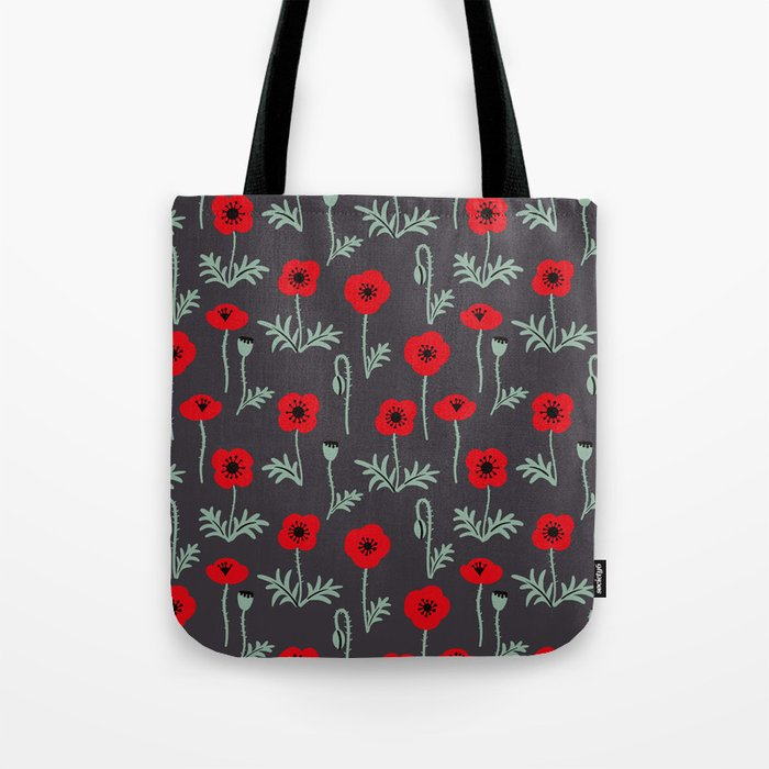 red poppy flower pattern tote bag by ojardin society6