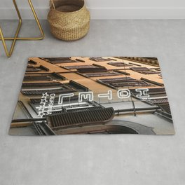 Hotel California // A Modern Artsy Style Graphic Photography of Neon Sign in Europe on Buildings Rug