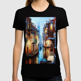 Venice Canal Digital Oil Painting T-shirt