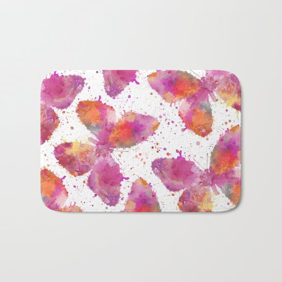 Artsy Butterfly colorful watercolor art Bath Mat