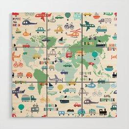 Travel The World Trains Planes Cars Trucks Map Wood Wall Art