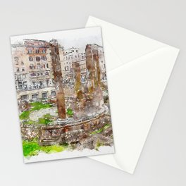 Aquarelle sketch art. Archaeological area of Largo Torre Argentina. Rome. Italy. Stationery Cards