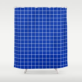 International Klein Blue - blue color - White Lines Grid Pattern Shower Curtain