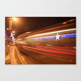 Urban City Bus Nightlife  Canvas Print