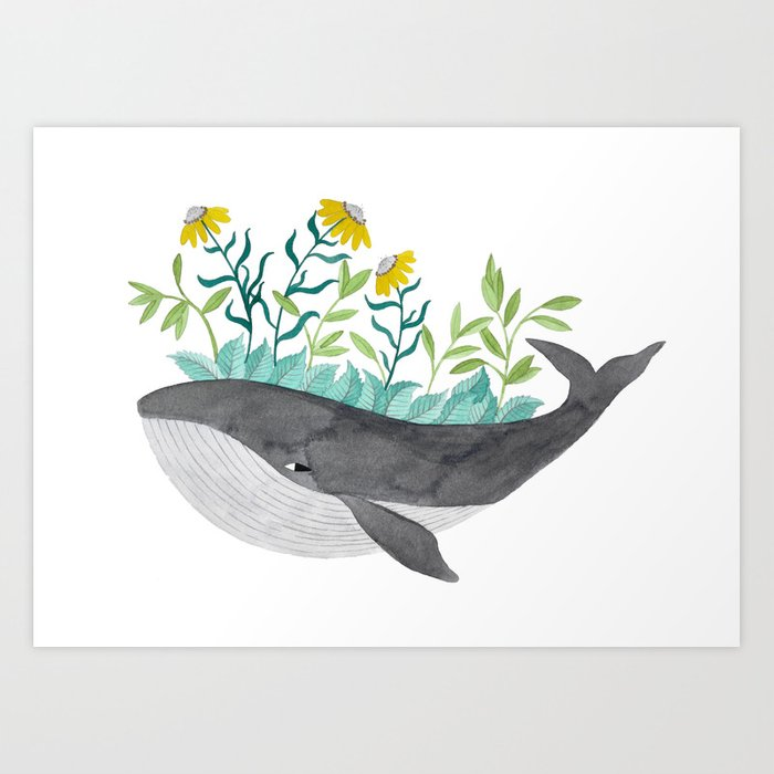 whale with mustard flowers watercolor Art Print