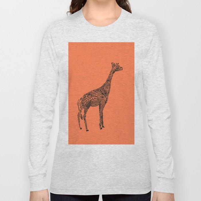 Designer Giraffe Coral Long Sleeve T-shirt