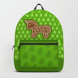 Gingerbread Unicorn on Green Background Backpack