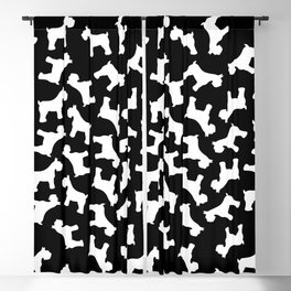 White Schnauzers - Simple Dog Silhouettes Pattern Blackout Curtain