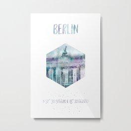 Coordinates BERLIN Brandenburg Gate | jazzy watercolor Metal Print